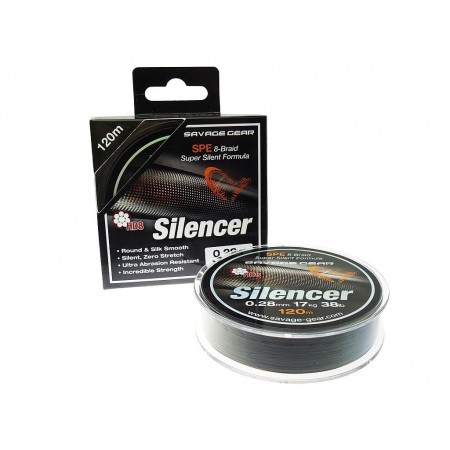 PLETENICA SAVAGE GEAR HD8 SILENCER BRAID 120m 0,19mm 27lbs zelena 54810