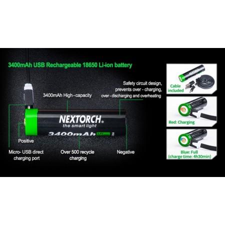 BATERIJA NEXTORCH LI-ION 3400 mAh 3,7V USB