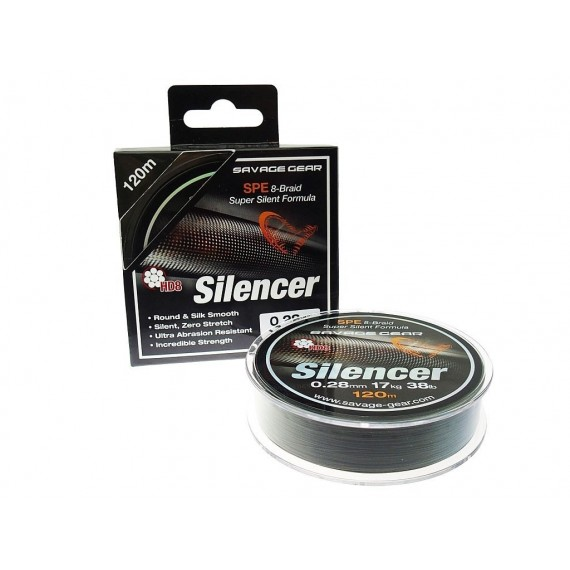 PLETENICA SAVAGE GEAR HD8 SILENCER BRAID 120m 0,23mm 38lbs zelena 54811