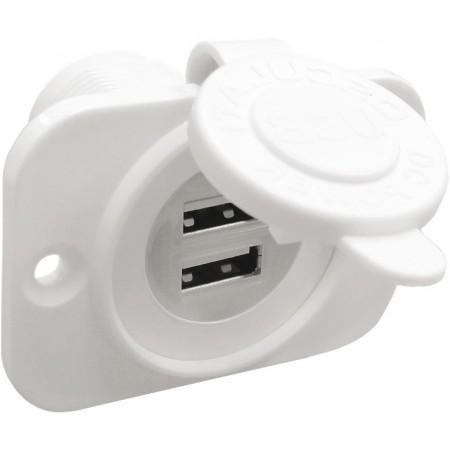 Dvojna vtičnica USB bela
